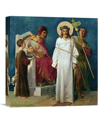 """Global Gallery 'Jesus Holy Christ Condemned to Die (1st Station of the Cross)' by Martin Feuerstein Painting Print on Wrapped Canvas GCS-282032 Size: 30"""" H x 29.47"""" W x 1.5"""" D"""