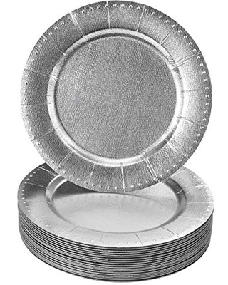 DISPOSABLE ROUND CHARGER PLATES - 20pc (Silver/Beaded)