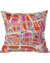 """Pink Holli Zollinger Paris Map Throw Pillow (20""""x20"""") - Threshold, Multi-Colored"""