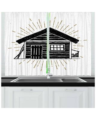2 Piece Log Cabin Grunge Style Hand Drawn Sketch of a Simple Wooden Cabin Art Kitchen Curtain Set East Urban Home