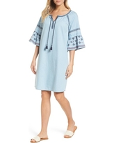 Women's Caslon Embroidered Chambray Shift, Size XX-Large - Blue