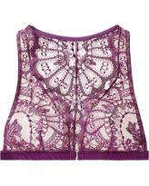 I.D. Sarrieri - Coup De Foudre Satin-trimmed Chantilly Lace And Tulle Soft-cup Triangle Bra - Violet