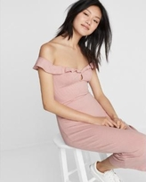 Express Ruffle Cut-Out Off The Shoulder Midi Dress