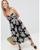 ASOS DESIGN Cut Out Midi Sundress In Dark Floral Print With Bow - Multi