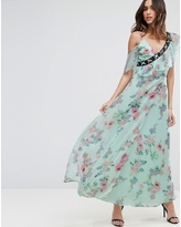 ASOS Floral Maxi Tea Dress with Lace Up Detail - Multi