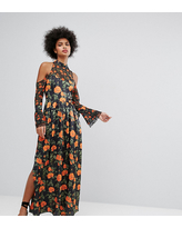 Horrockses Maxi Dress With Fluted Tie Sleeves In Floral Print - Multi