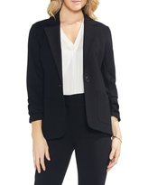 Women's Vince Camuto Ruched Sleeve Ponte Blazer, Size Small - Black
