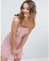 Influence Button Front Stripe Sundress - Red