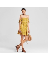 Women's Off the Shoulder Tiered Ruffle Dress - Mossimo Supply Co. Yellow Floral S