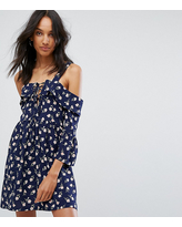 Missguided Tall Cold Shoulder Lace Up Skater Dress - Navy
