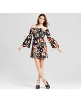 Women's Floral Woven Off the Shoulder Dress with Cutout - Vanity Room Navy XS, Blue