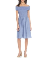 Nine West Chambray Off-The-Shoulder Smocked Fit-And-Flare Dress