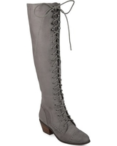 Women's Faux Suede Wide Calf Over-the-knee Lace-up Brogue Boots