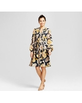 Women's Floral Printed Pintuck Shirt Dress with Chiffon Sleeve - Chiasso Navy Combo 16, Blue