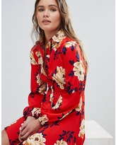 Influence Frill Skater Shirt Dress In Floral Print - Red