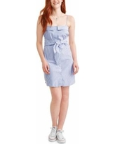 Juniors' Sleeveless Button Up Front Tie Dress with Collar