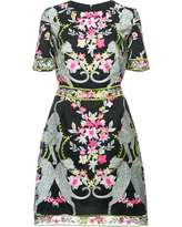 Marchesa Notte floral and leopard embroidered mini dress - Black