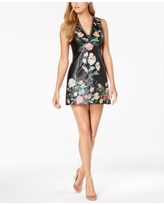 foxiedox Floral-Embroidered Faux-Leather Dress - Black 4