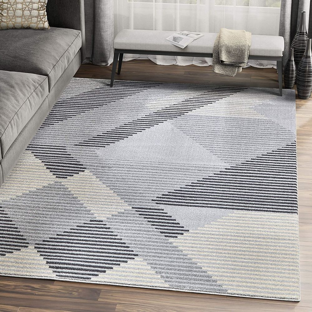 Geometric Striped Area Rug