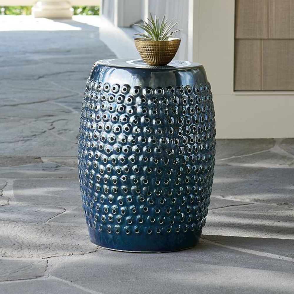Textured Ceramic Garden Stool
