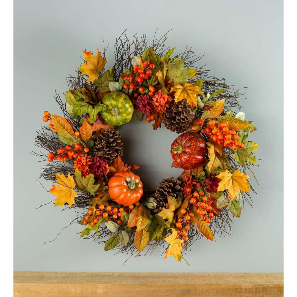 Pumpkins and Pine Cones Wreath