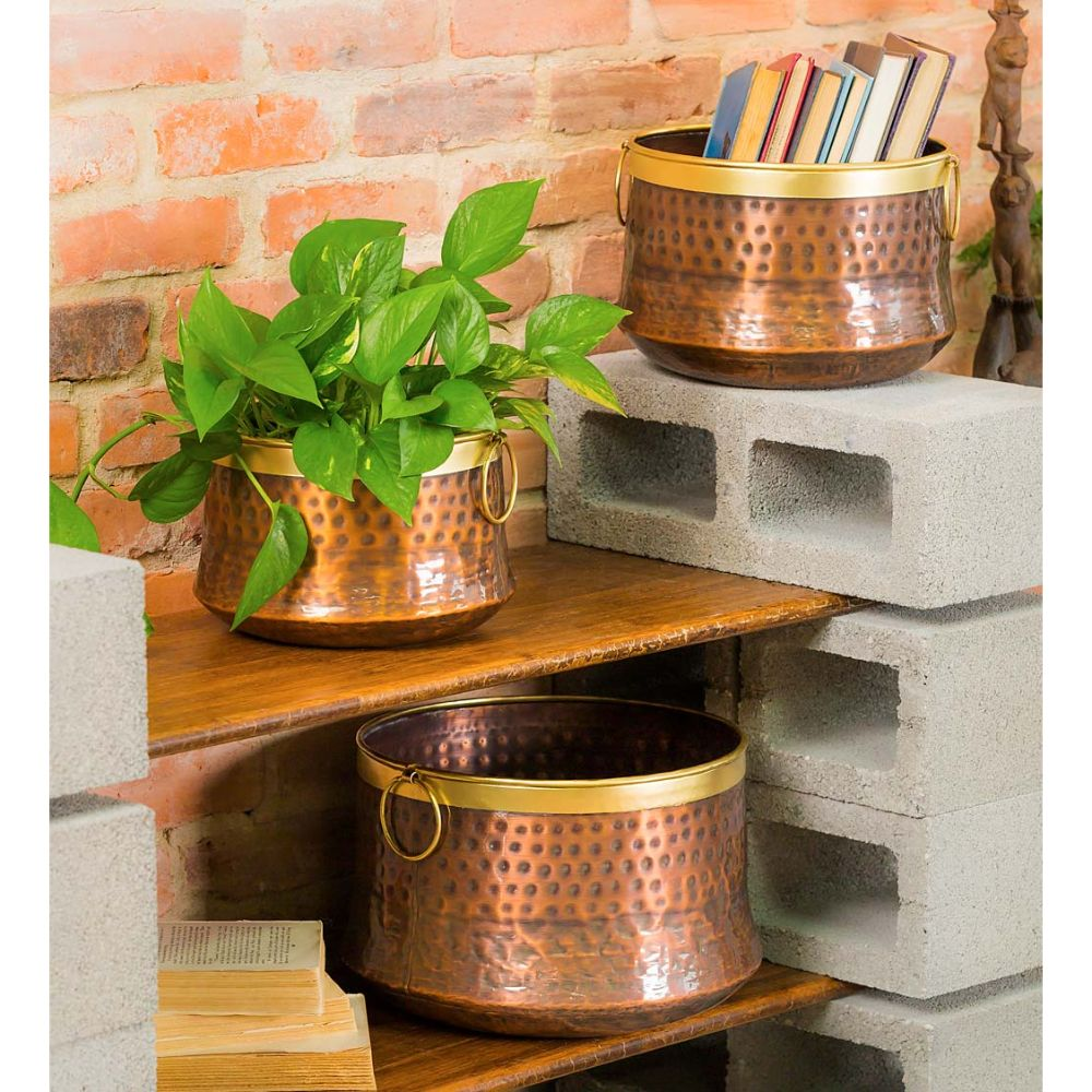 Copper & Brass Planter Set