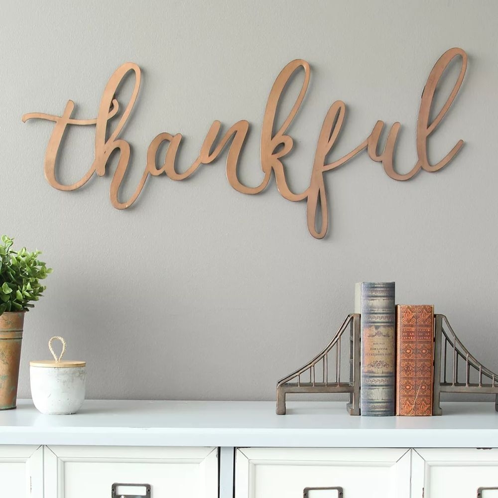 """Thankful"" Metal Wall Decor"