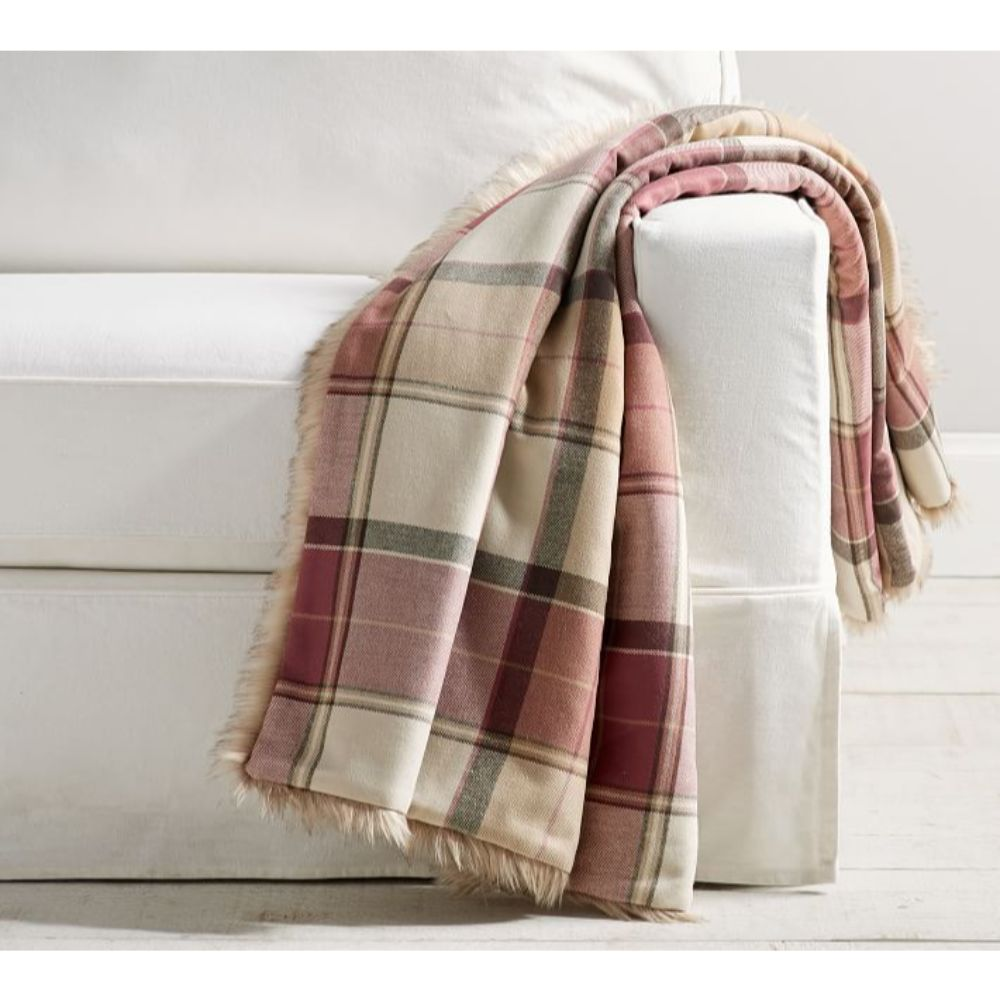 Plaid Faux Fur Throw