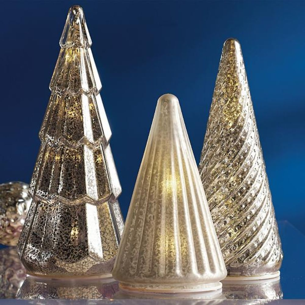 LED Silver Tree Set