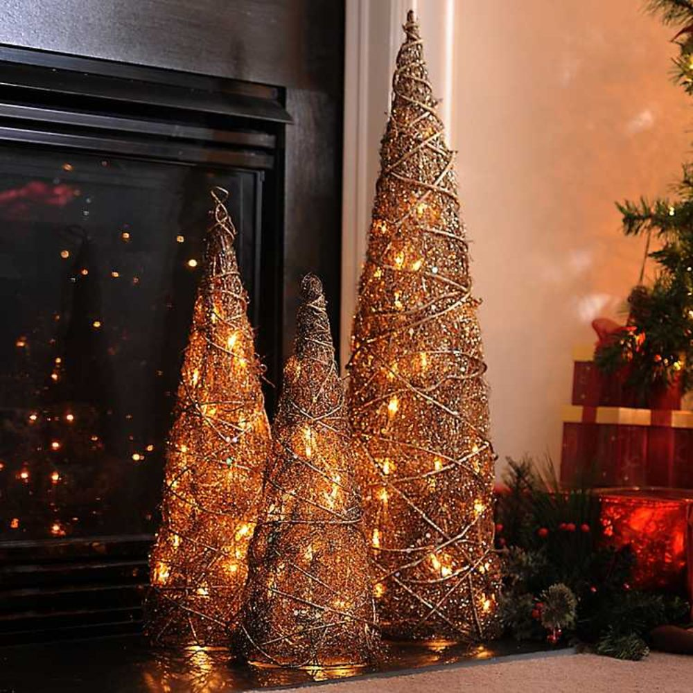Pre-Lit Bronze Christmas Tree Set
