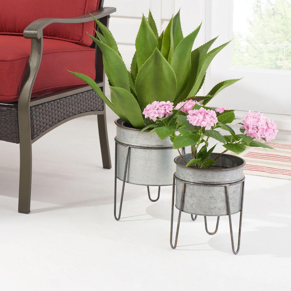 BH&G Galvanized Planter Set