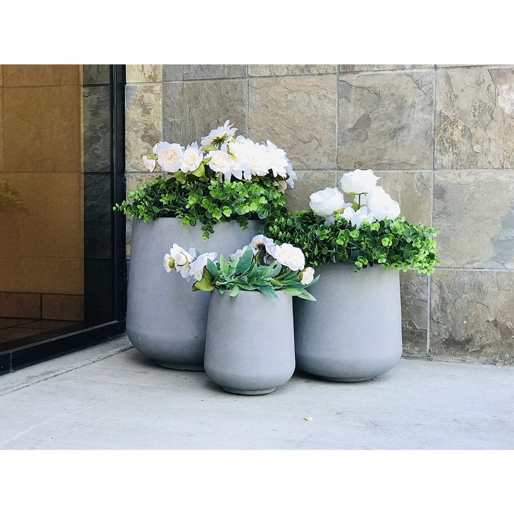 Natural Concrete Planters Set