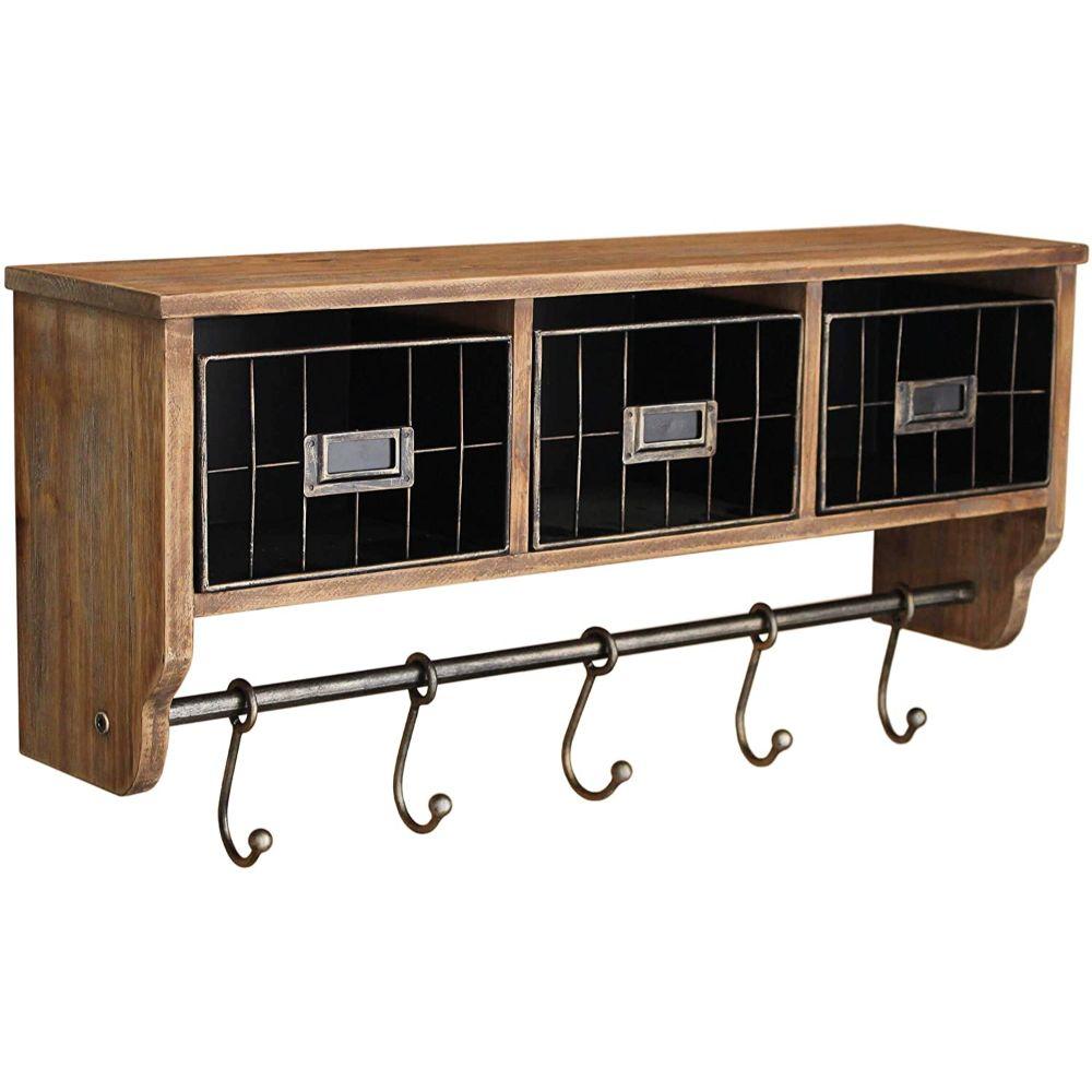 Mounted Shelf with Hooks & Baskets