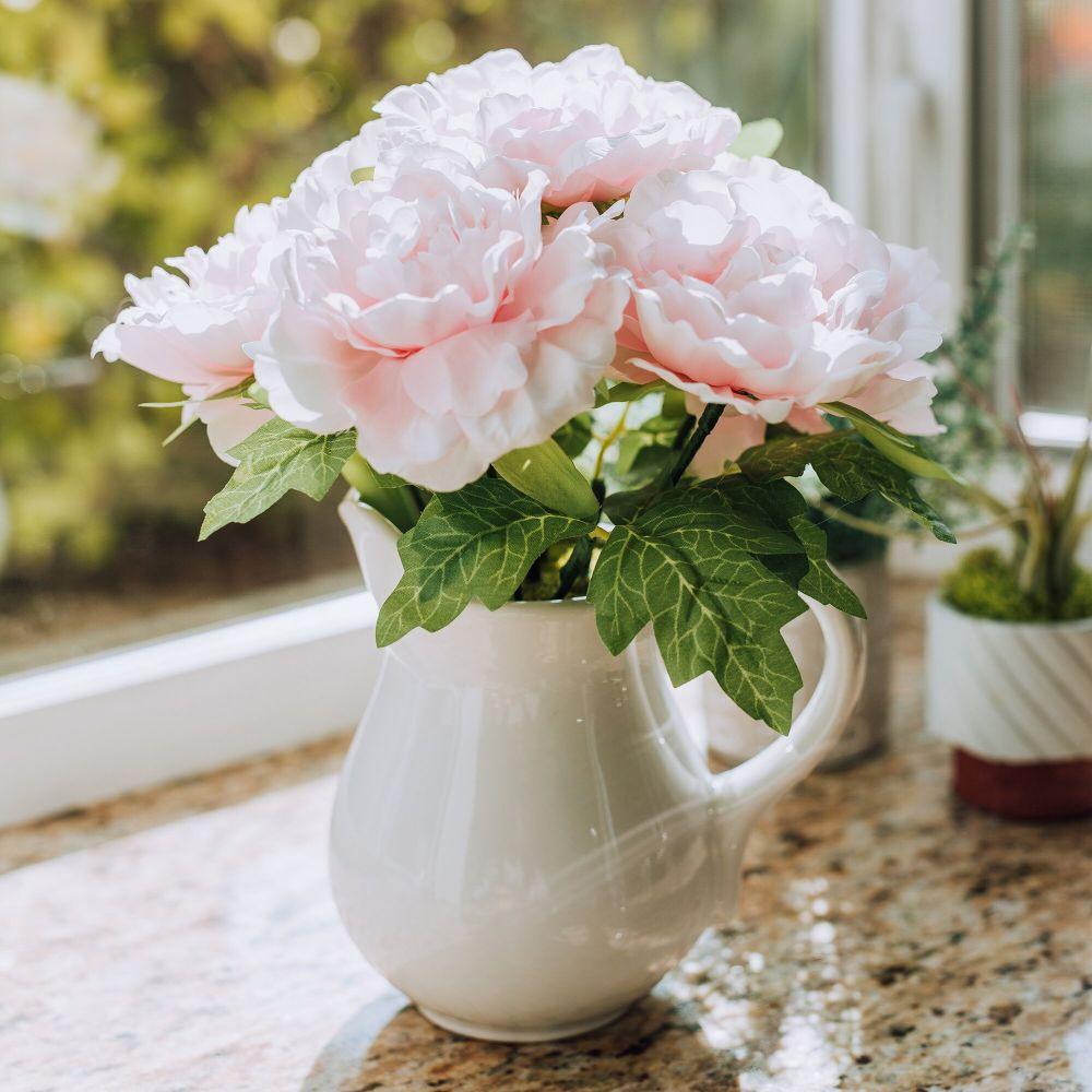 Peonies Centerpiece in Vase