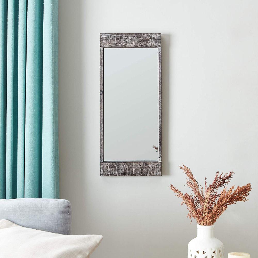 Distressed Wood Framed Wall Mirror