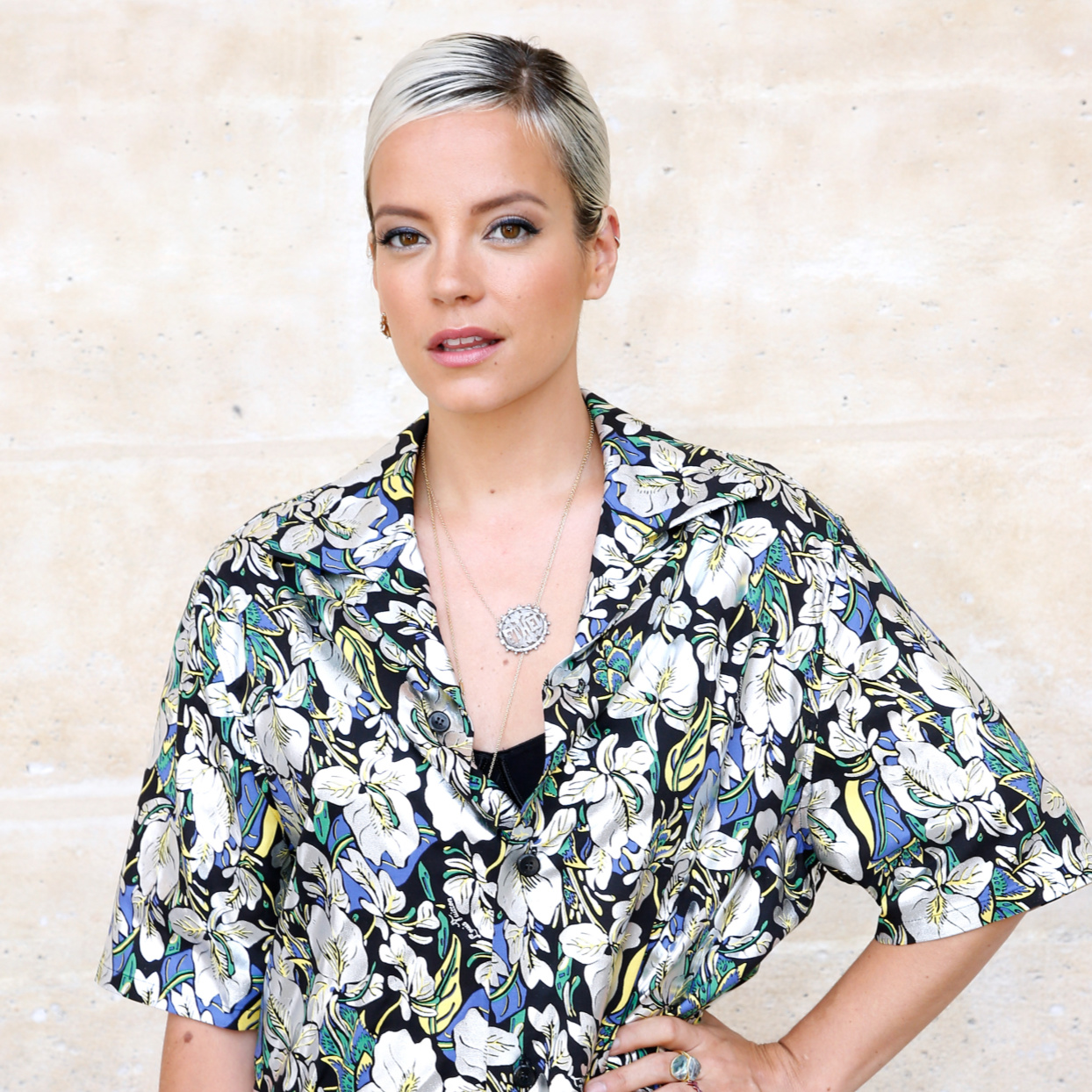 Lily Allen wearing patterned shirt