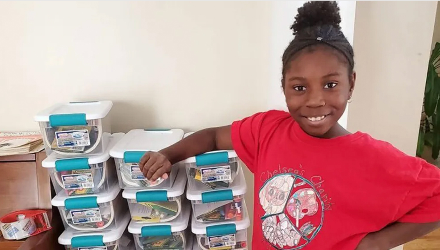 Chelsea Phaire, a 10-year-old from Danbury, Conn. donates art kits to kids in need