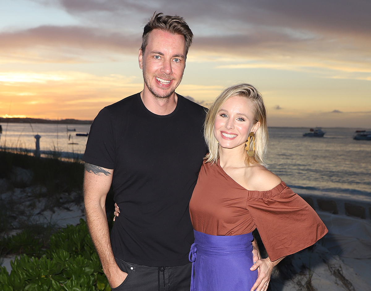 Dax Shepard and Kristen Bell pose as she vacations with her family at Beaches Turks & Caicos Resort