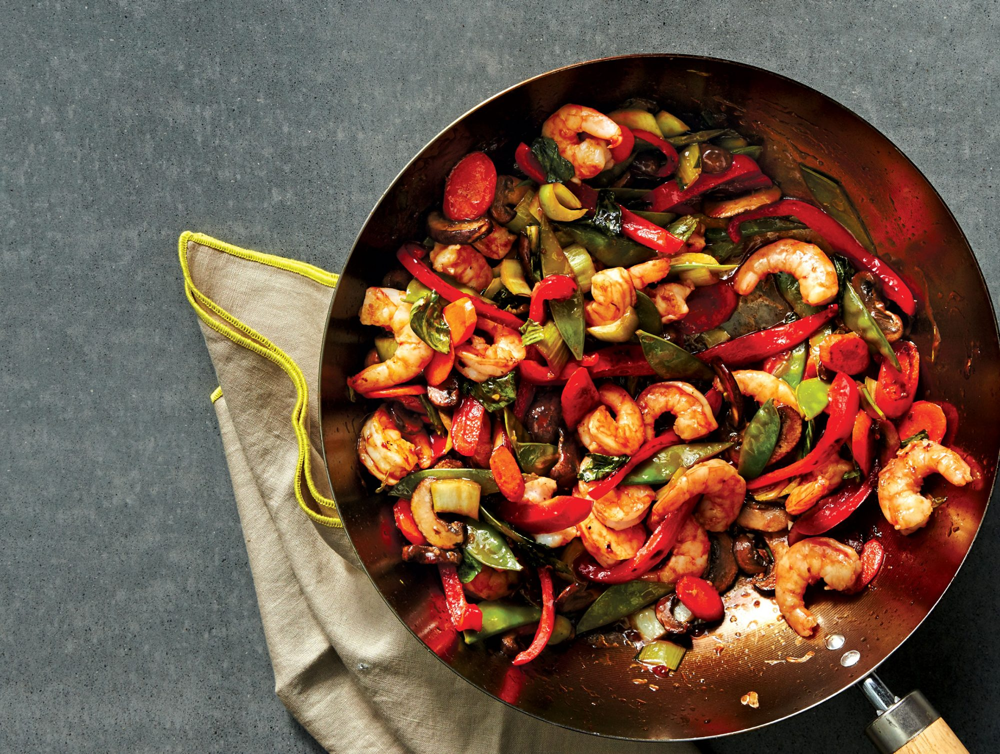 Shrimp-Vegetable Stir-Fry With Sesame-Ginger Sauce