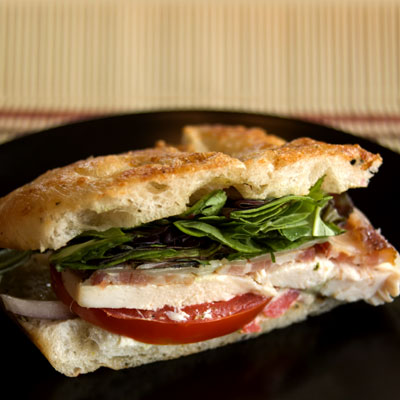 Chicken BLT on Red Onion Focaccia