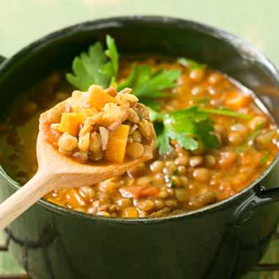 Veggie couscous and lentil soup