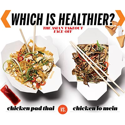 Which is healthier: Chicken pad Thai or chicken lo mein?