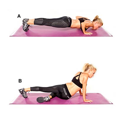 Push-up plank with alternating hip drop