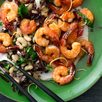 Lemon Shrimp With Warm Bean Salad