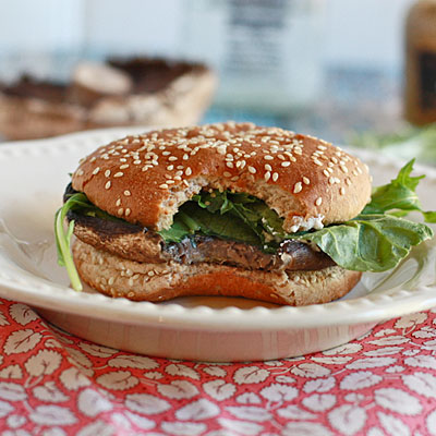 Roasted Portobello and Goat Cheese Burgers