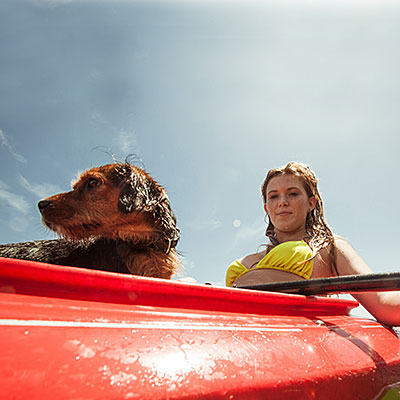 kayaking dog