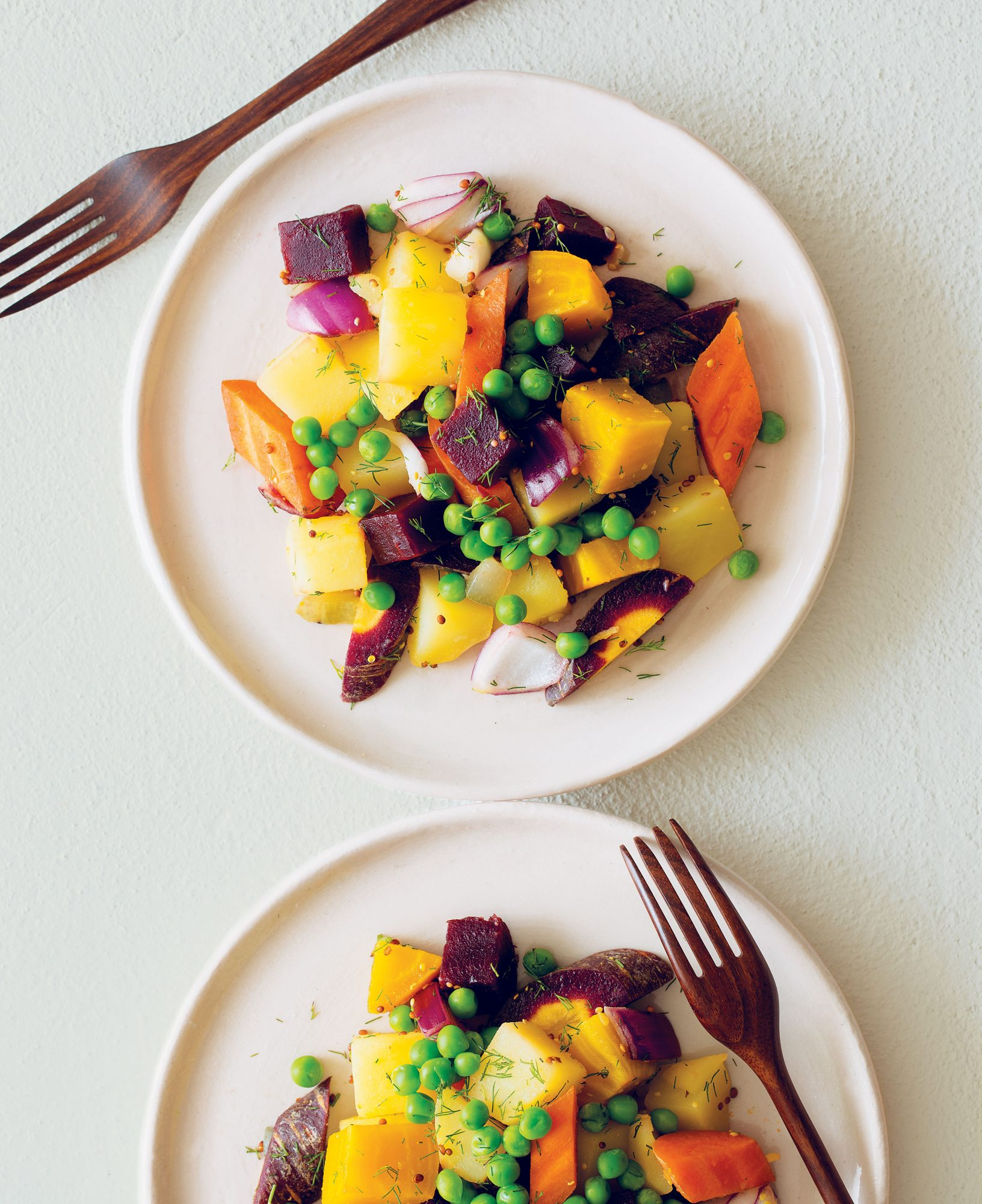 Cold Potato, Beet, Carrot and Pea Salad with Dill