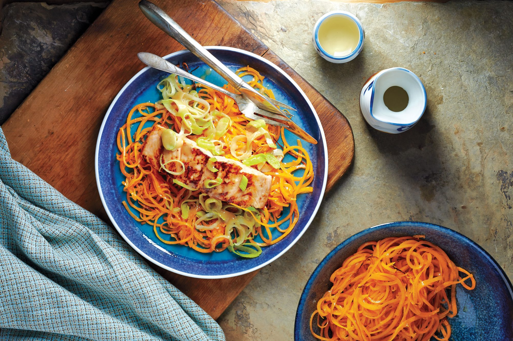 Winter Squash Noodles With Miso-Glazed Salmon and Leeks