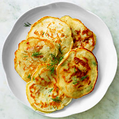 Dill Pancakes With Country Ham and Cheese