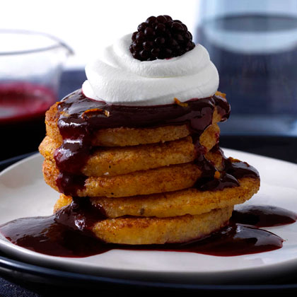 Polenta Pancakes with Blackberry Sauce